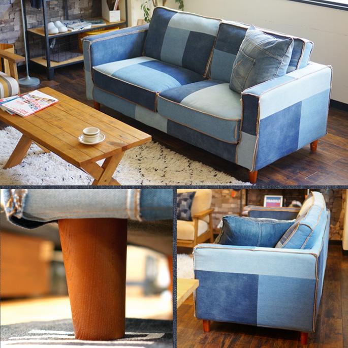 50s antique jeans motif! CALIFORNIA50's SOFA Patchwork-DENIM (CA 50's sofa  patchwork denim) BIMAKES (Vimax)