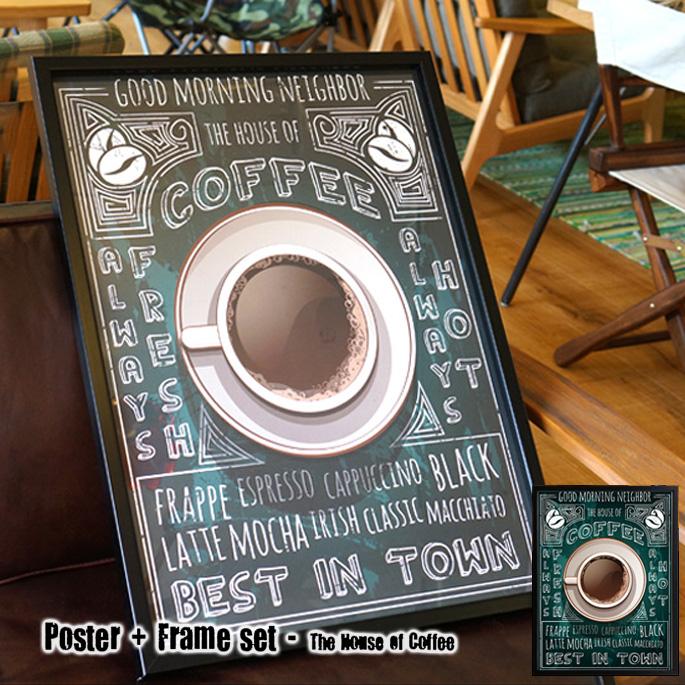 Poster+Frame set The House of Coffee(ポスター&フレームセット ハウスオブコーヒー)ISF52294 JIG(ジェイアイジー)