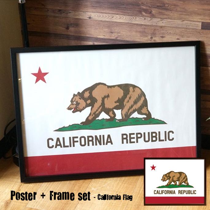 Poster+Frame set California Flag(ポスター&フレームセット カリフォルニアフラッグ)ISF52295 JIG(ジェイアイジー)