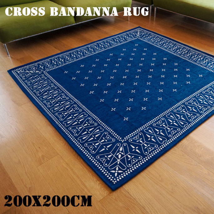 cross bandanna rug Navy(クロス バンダナ ラグ ネイビー) 200×200cm 2597LL 送料無料
