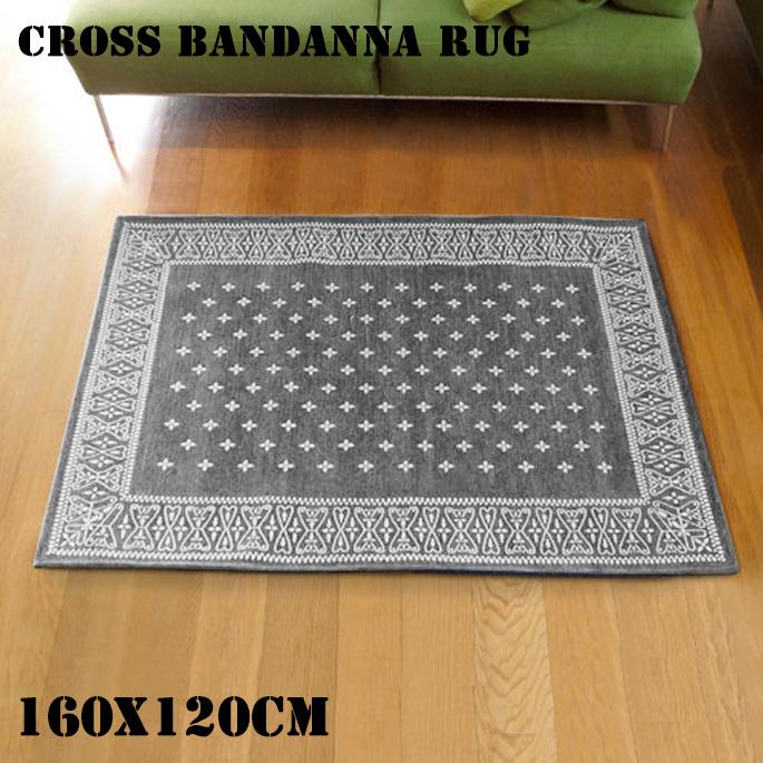 Cross Bandanna Rug Gray(クロス バンダナ ラグ グレー) 160x120cm 2597GYML 送料無料
