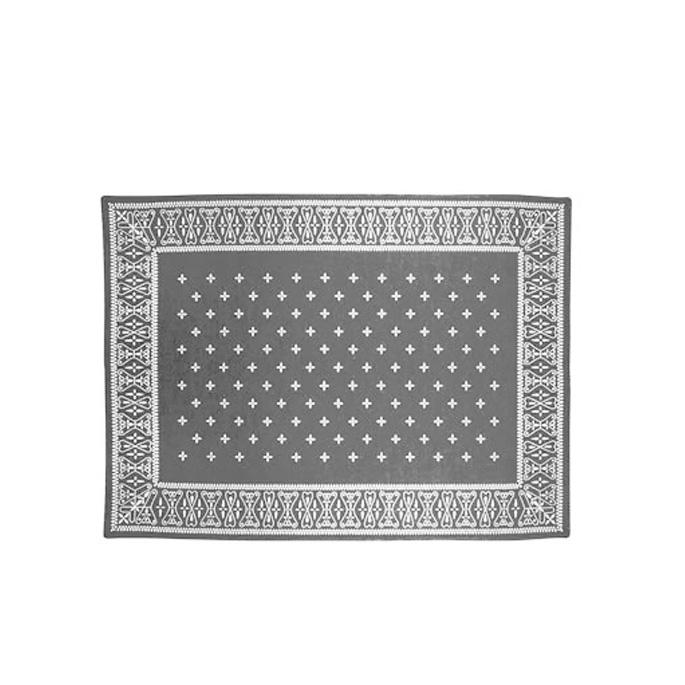 ラグマット フロアラグ カーペット 絨毯 クロスバンダナラグ グレー cross bandanna rug Gray 2597GYL 灰色 アクリル 200×140cm 水洗い可能 洗える ホットカーペット対応 バンダナ柄 バーガンディー インダストリアル ビンテージ 塩系 【送料無料】