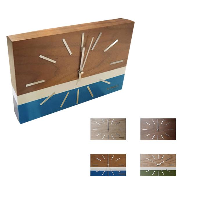 ハモサ HERMOSA 置き掛け時計 ラブレアクロック NA-001 LABREA CLOCK ウッド スイープムーブメント 北欧 シンプル おしゃれ 西海岸 ウォールナットナチュラル ブルー グリーン リビング 寝室 子供部屋 ギフト 新築祝い 引っ越し祝い