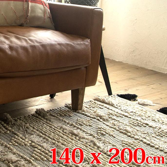 アマブロ amabro フリンジラグ リビング FLINGE RUG Living 1302 140×200cm コットン 綿 ハンドメイド アイボリー 白 絨毯 マット リビングマット 長方形 ダイニング 寝室 北欧 モノトーン モダン 幾何学 ビンテージ レトロ おしゃれ