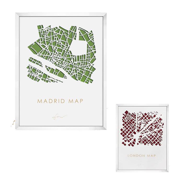 【送料無料】デザイナーズアート 70×90×5cm スリーディ マップ アート シティマップ 3D MAP ART CITY MAP IMP-61123 IMP-61124 JIG美工社立体地図アートフレーム額付きロンドン マドリード パネル カフェ風