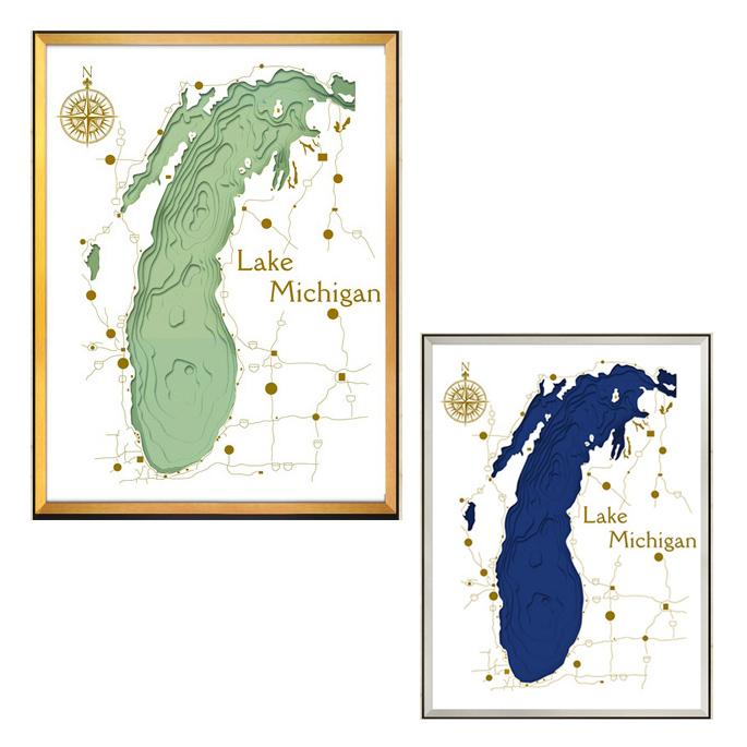 【送料無料】デザイナーズアート 60×80×5cm スリーディ マップ アート レイク ミシガン 3D MAP ART Lake Michigan IMP-61125 IMP-61126 JIG美工社立体地図アートフレーム額付きミシガン湖パネル カフェ風
