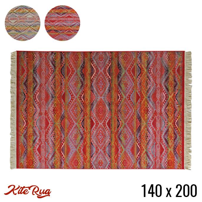 モリヨシ MORIYOSHI カイト ラグ Kite rug 140x200 ラグ 幅1400mm マット 絨毯 じゅうたん カーペット ホットカーペットカバー対応 リビング ダイニング ヴィンテージ キリム 洗える