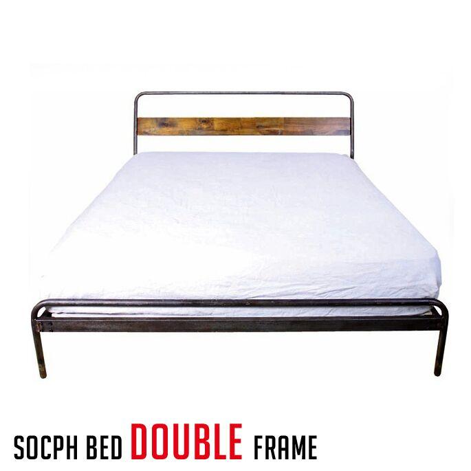 アデペシュ a.depeche カバ材 寝室 木製家具 ベッドフレーム ソコフ ベッド ダブル socph bed double SCP-BED-DL 西海岸 アメリカンビンテージ 送料無料