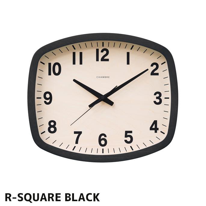 R-スクエア ブラックR-SQUARE BLACK CH-028BK 壁掛け時計 ウォールクロック 時計 かけ時計 電波時計ウッド調 木目 木製 スイープムーブメント 電波 日本製北欧 シンプル おしゃれ お祝い プレゼント 新築 送料無料