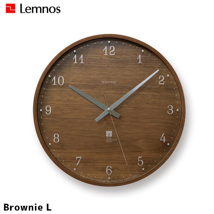 タカタレムノス Lemnos ブラウニーL Brownie PC07-04L 掛け時計 幅305mm ウォールクロック 時計 かけ時計 電波時計 ステップセコンド シンプル ミッドセンチュリー ウォールナット 北欧 電波時計 プレゼント
