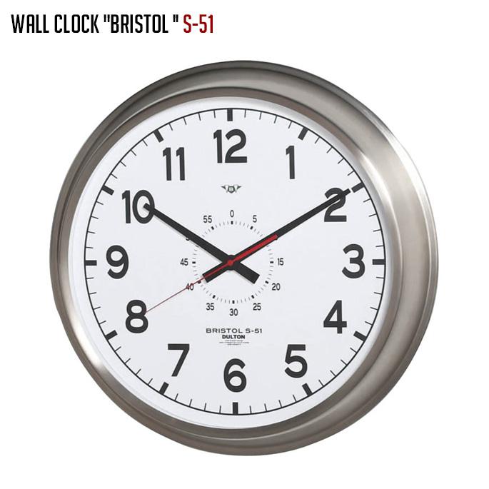 ダルトン DULTON ウォールクロック ブリストル S-51 WD WALL CLOCK BRISTOL S-51 WD K725-923WD 壁掛け時計 幅520mm ウォールクロック 時計 かけ時計 電池時計 ステンレススチール ガラス インダストリアル リビング メンズライク アメリカ ヴィンテージ おしゃれ かっこいい