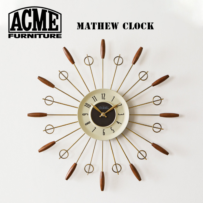 アクメ ファニチャー ACME Furniture マシュークロック MATHEW CLOCK 17016970000170 時計 掛け時計 ウォールクロック カリフォルニア ヴィンテージ インダストリアル