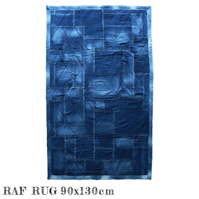 RAF rug 90×130 4年保証 ラグ 特売 マット 絨毯 じゅうたん カーペット ホットカーペットカバー対応 不織布貼り ビンテージ 北欧 デニム風 シンプル オシャレ レトロ 西海岸