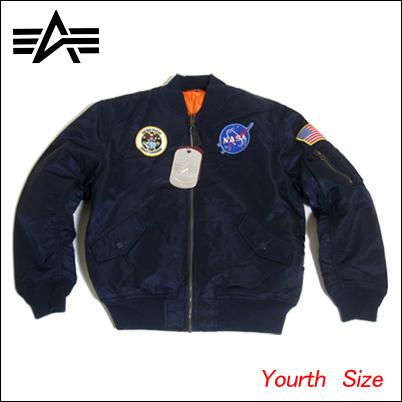알파 NASA 키즈 사이즈 아이 크기 MA-1 ALPHA INDUSTRIES 알파 산업 YOUTH NASA MA-1 알파 사 쥬 니 어 사이즈 아우터 점퍼 존 플라이트 쟈 켓 MA1