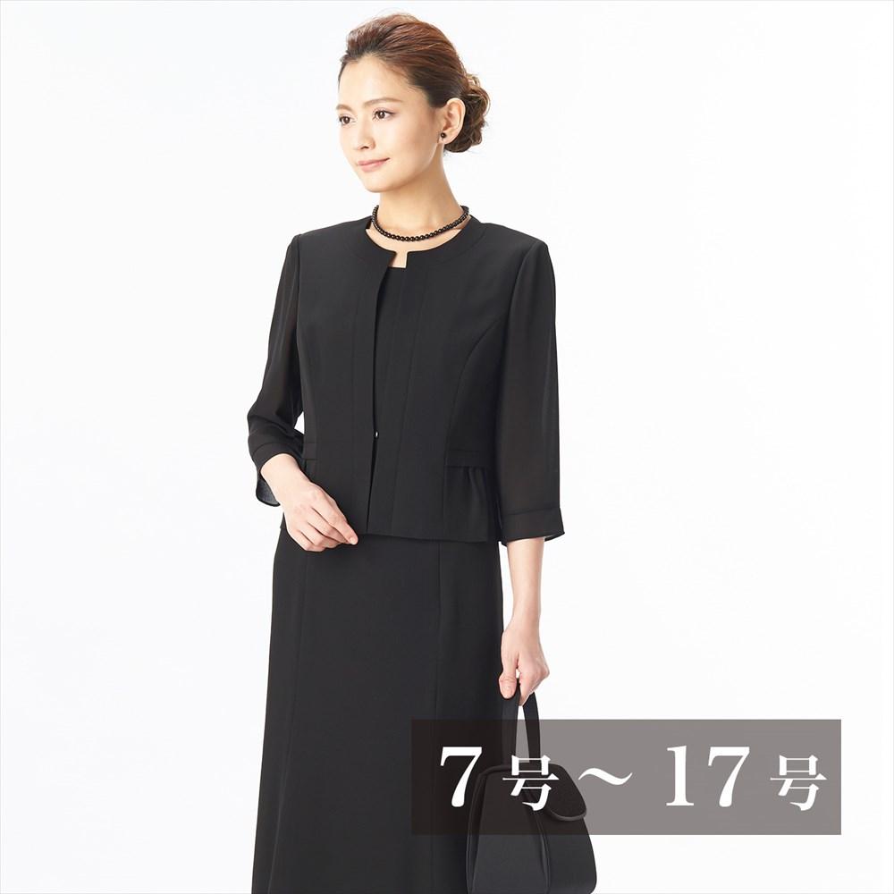 ウエストギャザー七分袖ワンピ(110822606)ブラックフォーマル 喪服 礼服 ワンピース レディース 女性 40代 キャッシュレス5%還元