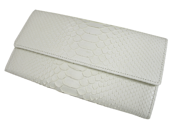 【送料無料】錦ヘビ 白マット 三つ折財布 さいふ サイフ メンズ 錦蛇革・牛革使用 日本製 押し柄