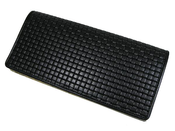 【送料無料】錦ヘビ ブロックメッシュ&薄金蛇 長財布 さいふ サイフ メンズ 錦蛇革使用 日本製 BM-401 黒