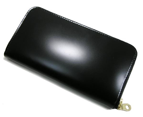 【送料無料】コードバンロングラウンド財布 ブラック 日本製