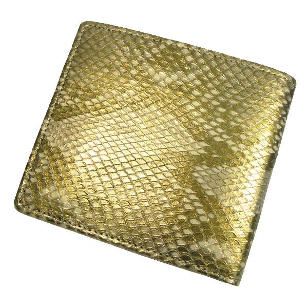 【送料無料】錦ヘビ 柄残し ゴールド 二つ折れ 財布 さいふ サイフ メンズ 錦蛇革使用 日本製