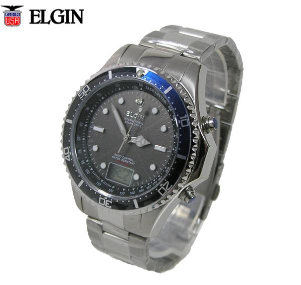 【送料無料】エルジン/ELGIN アナデジ 天然ダイヤモンド1石配置 電波ソーラー腕時計 FK1400S-BLP
