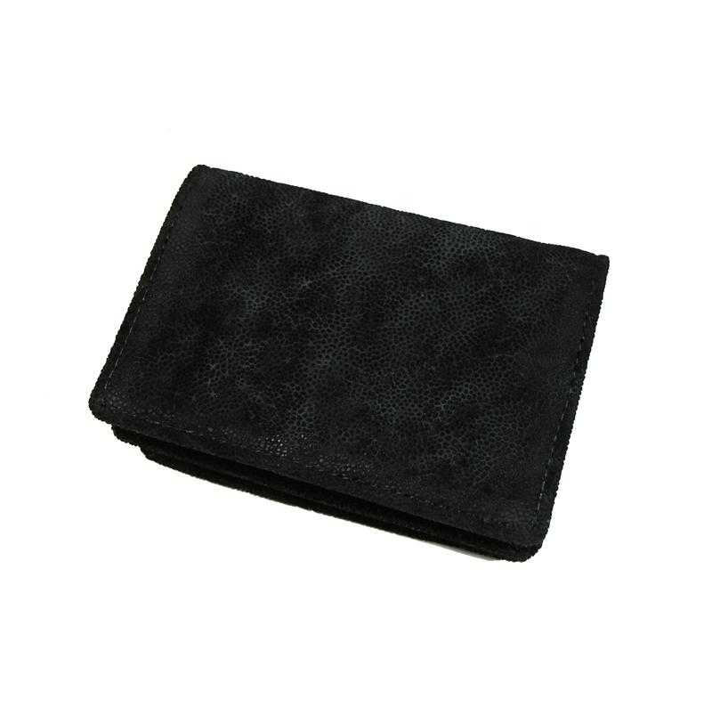 【送料無料】エレファント 象革 札入れ 名刺入れ(ブラック) 日本製 ※代引き不可