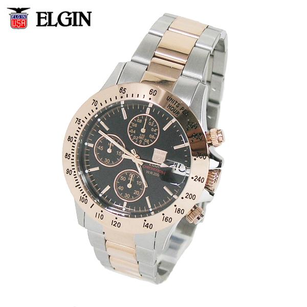送料無料 エルジン/ELGIN クロノグラフ 20気圧防水 メンズ腕時計 FK1184PG-B