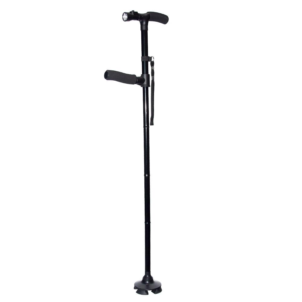 売買 自立杖 自立式ステッキ 折りたたみ式 ツイングリップ 世界の人気ブランド ダブルハンドル LEDライト搭載 緊急災害時用 4点支柱 登山 敬老の日に