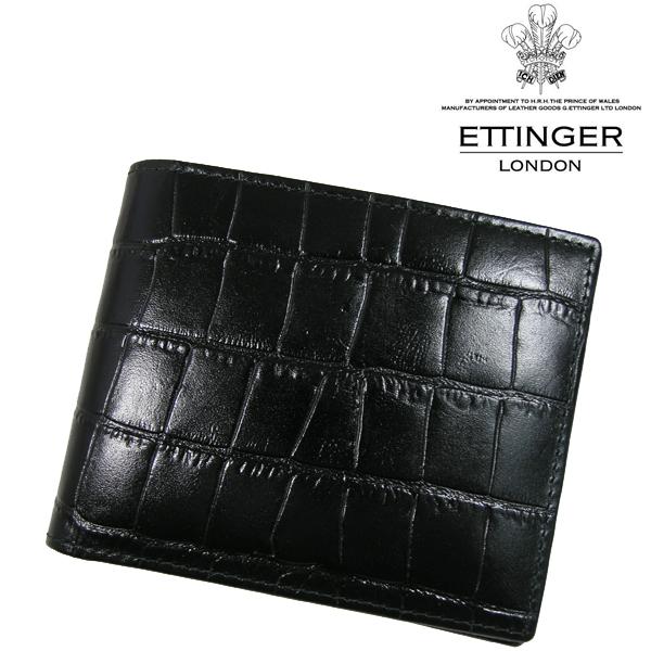 送料無料 エッティンガー/ETTINGER 二つ折り財布 メンズ CC030J-EBONY