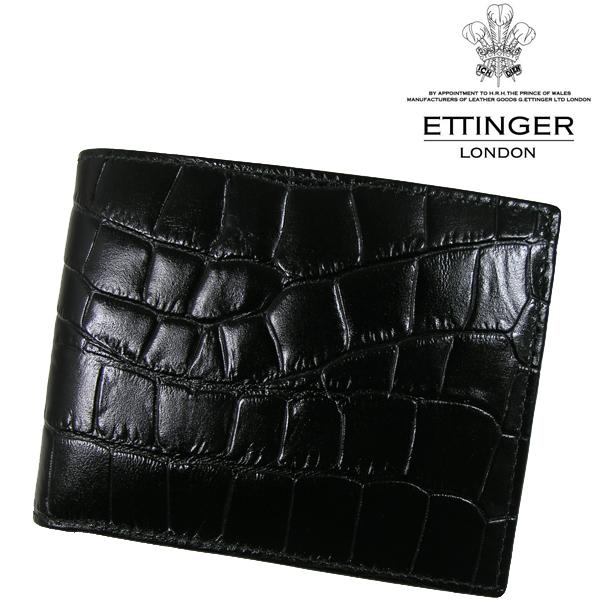 送料無料 エッティンガー/ETTINGER 二つ折り財布 メンズ 小銭入れ CC141J-EBONY