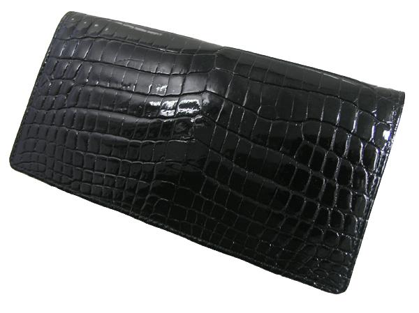 【送料無料】クロコダイル ダブルマチ 長財布 ブラック 日本製 ※代引き不可