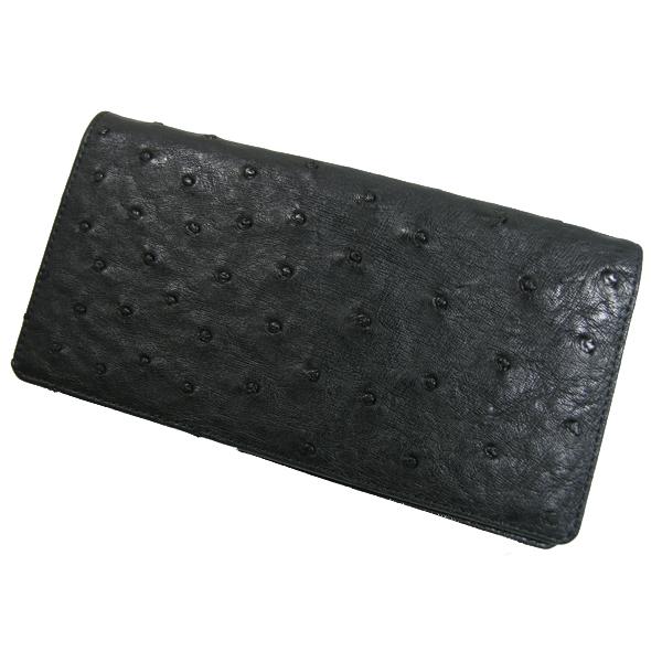 【送料無料】オーストリッチ ダブルマチ 無双 長財布 ブラック 日本製 ※代引き不可