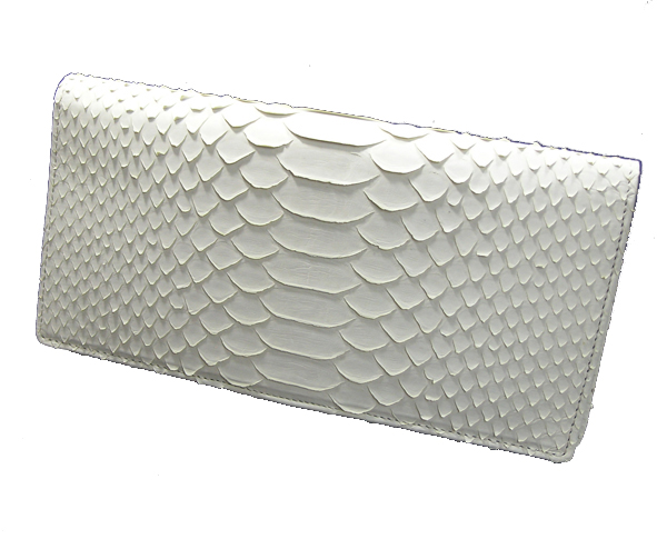 【送料無料】錦ヘビ 白蛇無双長財布 さいふ サイフ 錦蛇革使用 日本製