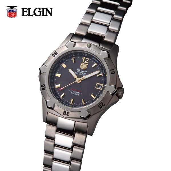 送料無料 ELGIN エルジン チタンソーラーダイバー FK1423TI-B