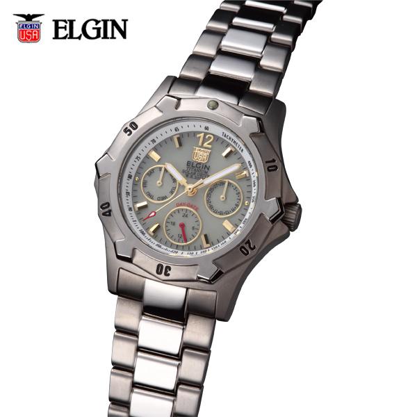 送料無料 ELGIN エルジン チタンソーラーマルチ FK1424TI-BR