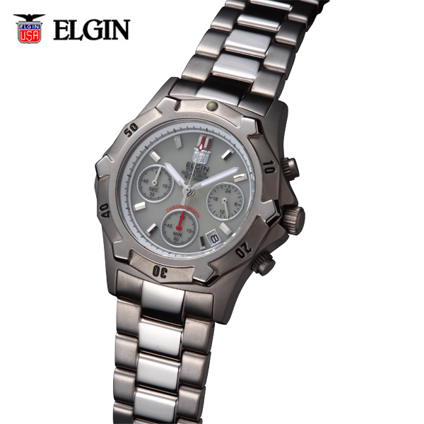 送料無料 ELGIN エルジン チタンソーラークロノ FK1425TI-BR