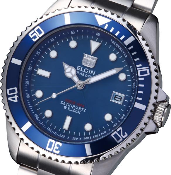 無限太陽エネルギー エルジン NEW ソーラー ダイバー 腕時計 日本製 大規模セール ムーズメント メーカー保証 セール FK1426S-BL プレミアム2年間
