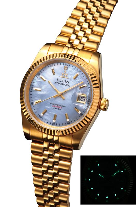 送料無料 エルジン/ELGIN 自動巻き 腕時計 ゴールドIPメッキ 天然貝パール文字盤 FK1428G-CL