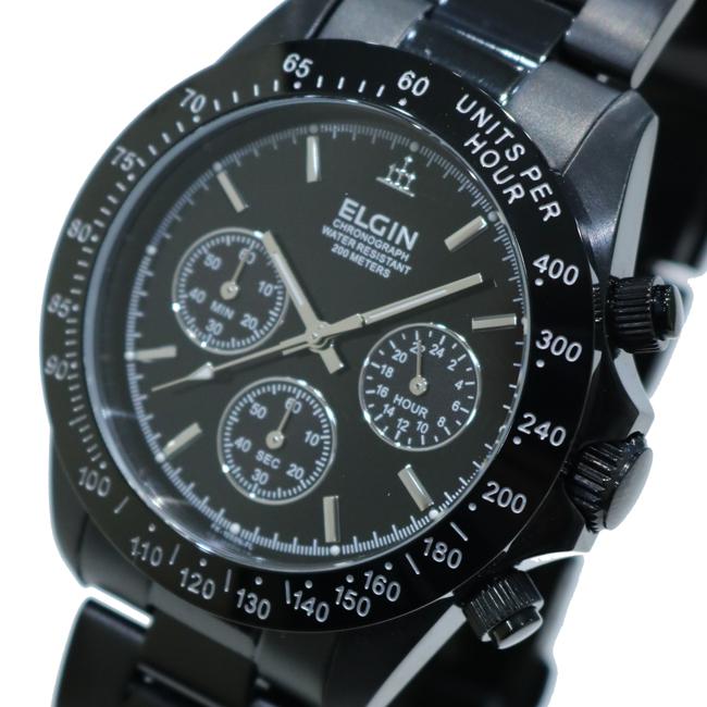 今ダケ送料無料 エルジン ELGIN 売れ筋 クロノグラフ 20気圧防水 メンズ腕時計 FK1059B-W