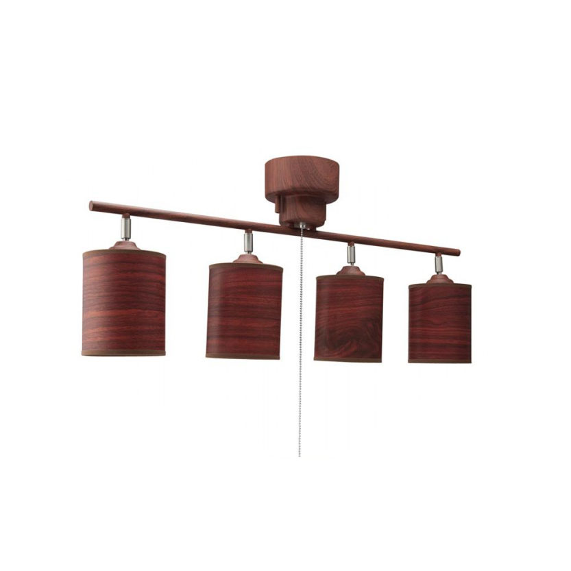 【送料無料】【取り寄せ】 イシグロ 4灯シーリングライト 木調ブラウン+木調シェード付き(電球なし)・20059【代引き不可】