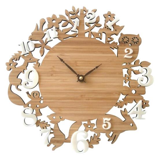 【取り寄せ・同梱注文不可】 Made in America DECOYLAB(デコイラボ) 掛け時計 It's My Forest Bamboo with ivory acrylic numbers 森の動物たち IMF-BI【代引き不可】【thxgd_18】