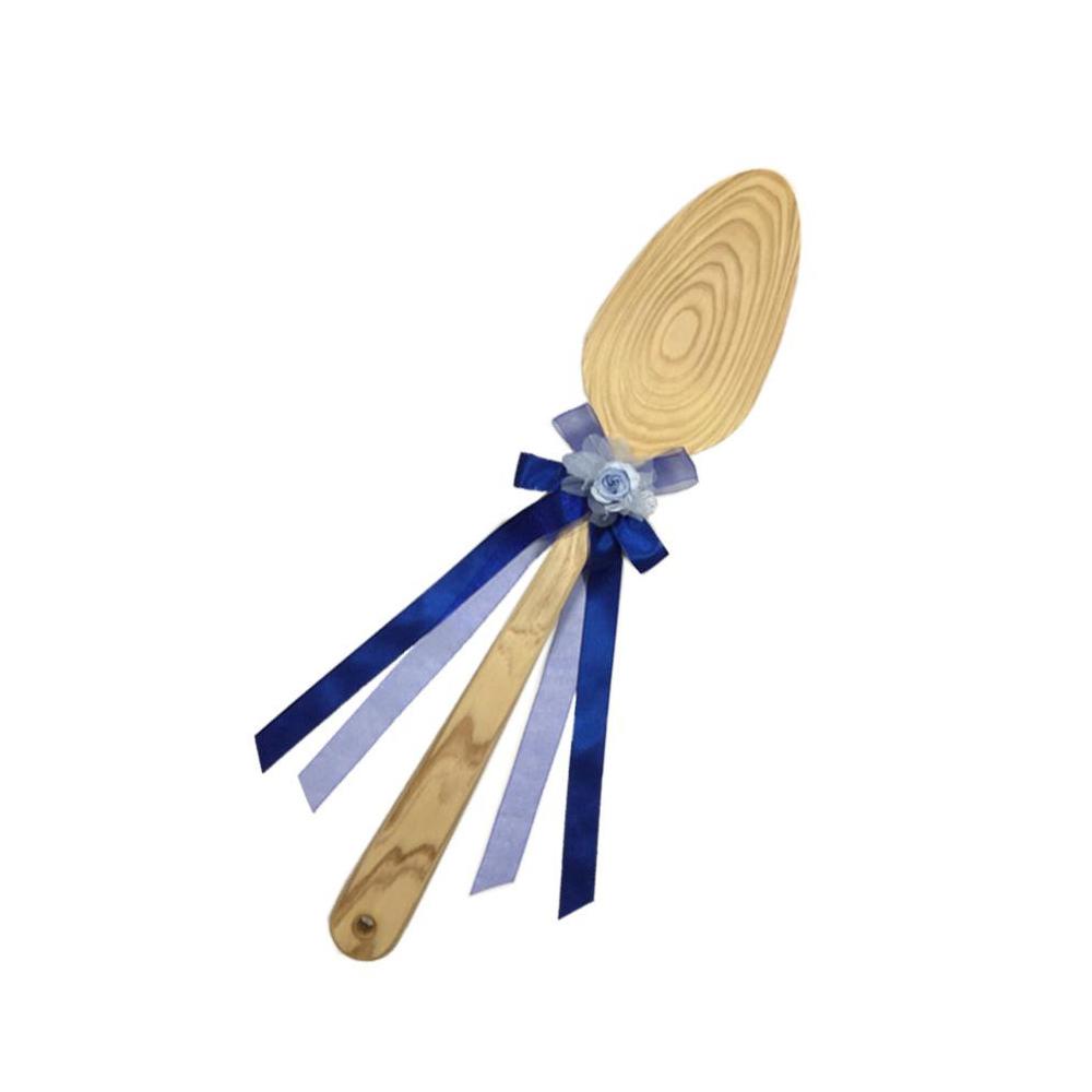 送料別 【代引き・同梱不可】【取り寄せ】 ファーストバイトに! ビッグウエディングスプーン 誓いのスプーン クリア 45cm 青色リボン