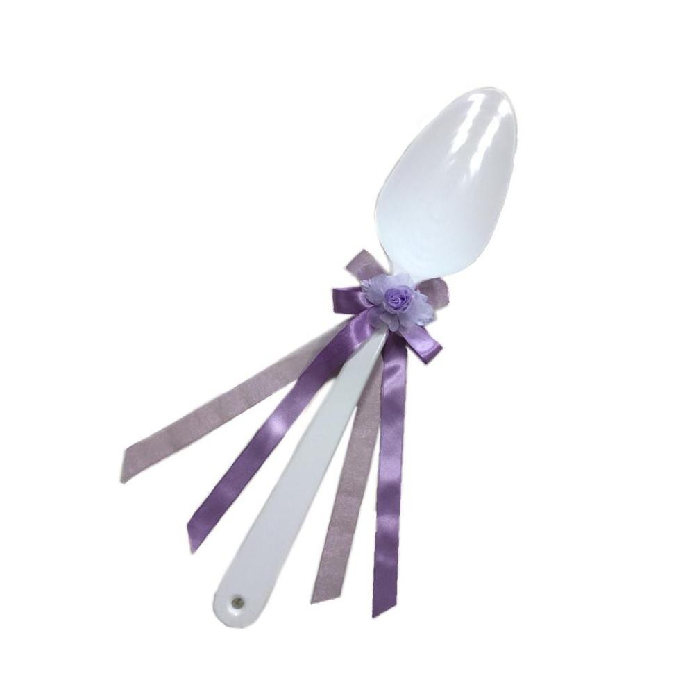 送料別 【代引き・同梱不可】【取り寄せ】 ファーストバイトに! ビッグウエディングスプーン 誓いのスプーン ホワイト 45cm 薄紫色リボン