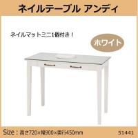 【送料無料】【代引き・同梱不可】【取り寄せ】 ネイルテーブルアンディ ホワイト51441