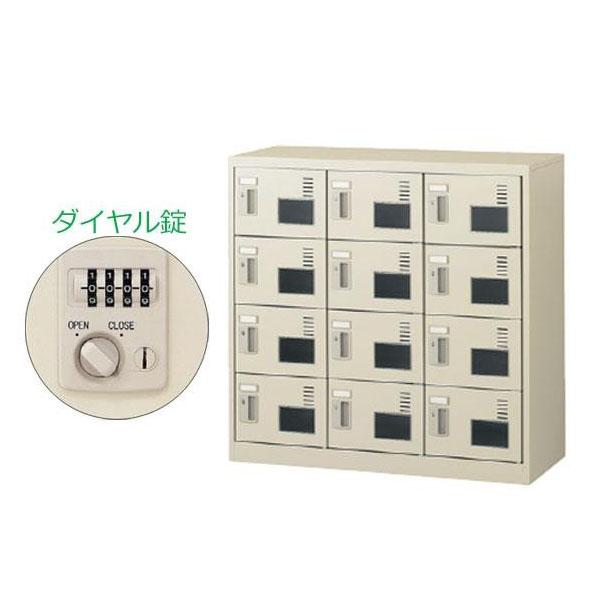 【代引き・同梱不可】【取り寄せ】 SEIKO FAMILY(生興) 3列4段12人用シューズボックス 窓付タイプ(ダイヤル錠) SLC-M12W-D(55606)