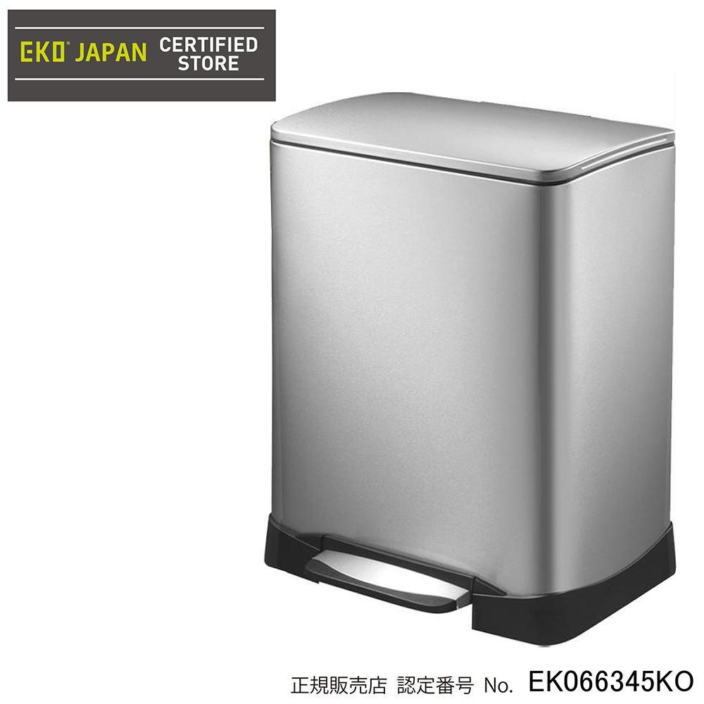 【送料無料】【取り寄せ】 EKO(イーケーオー) ステンレス製ゴミ箱(ダストボックス) ネオキューブ ステップビン 28L+18L シルバー EK9298MT-28L+18L【代引き不可】