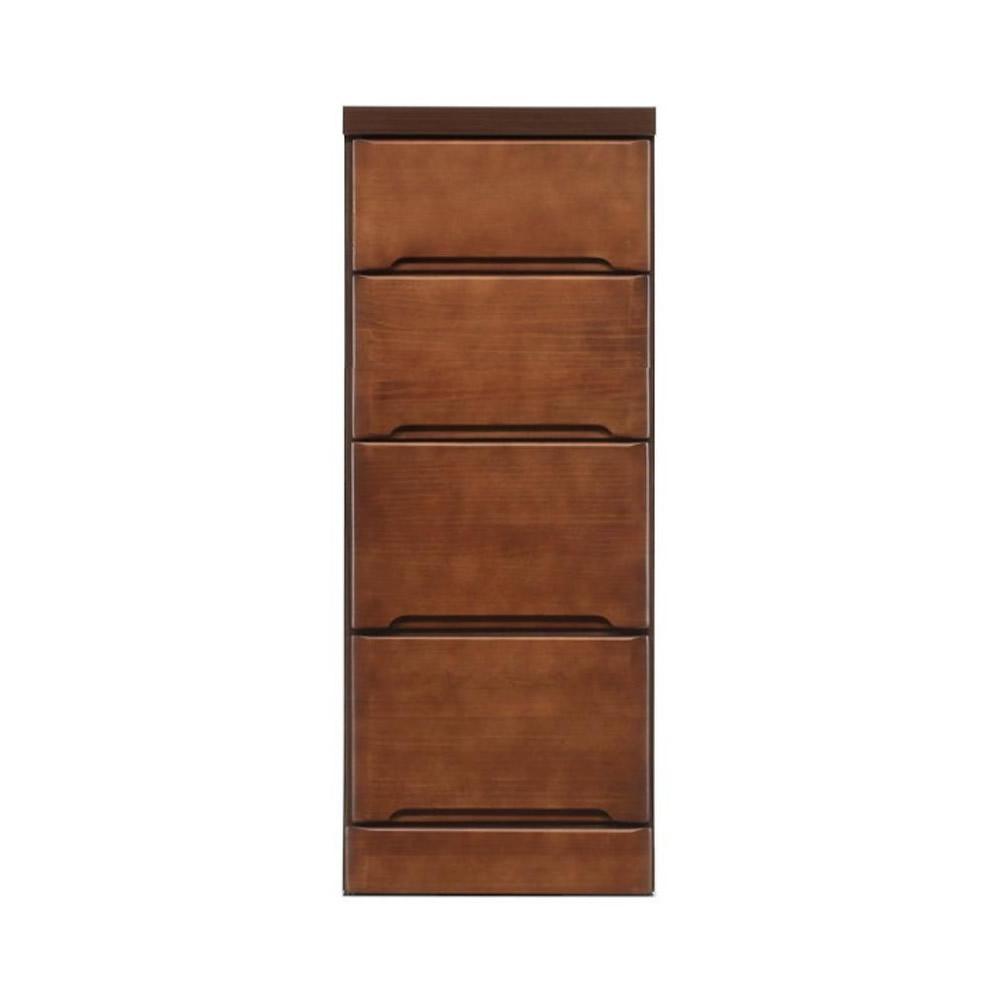【送料無料】【代引き・同梱不可】【取り寄せ】 クライン サイズが豊富なすきま収納チェスト ブラウン色 4段 幅35cm