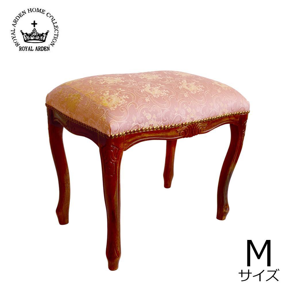 【送料無料】【取り寄せ】 ロイヤルアーデン イタリアスツール Mサイズ ピンク 茶脚 51355【代引き不可】