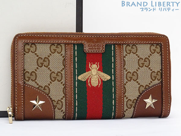 52ea0954024 Gucci GUCCI GG canvas sherry line bee embroidery round fastener long wallet  vintage Web B embroidery wallet beige X brown X sherry color X gold canvas X  ...
