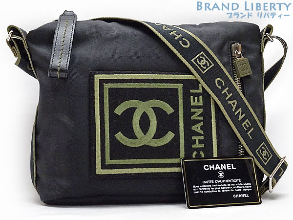 434fdda3e9 Take Chanel CHANEL sports line here mark slant  shoulder bag messenger bag  black X khaki nylon A30174