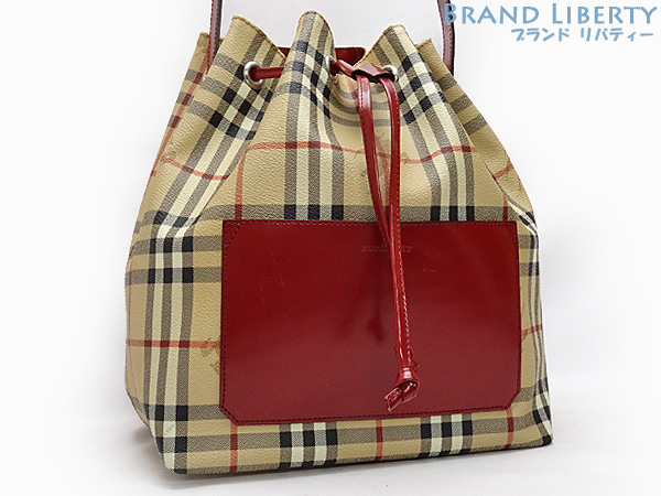 Product made in Burberry BERBERRY London Haymarket check drawstring purse  type shoulder bag beige X red PVC X leather Italy f3070ccd01